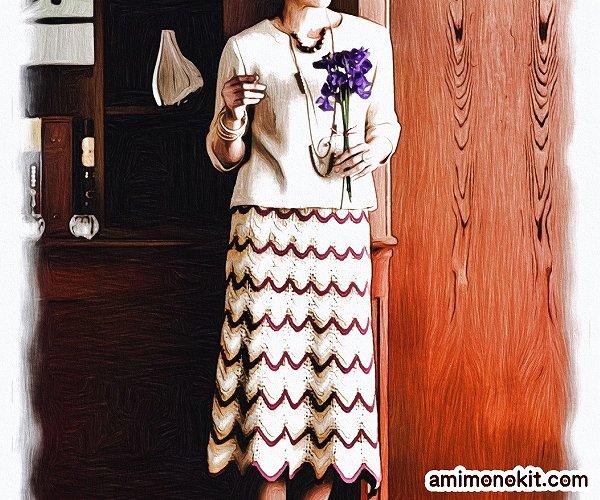 無料編み図Free Knitting Patternスーツ棒針編みアンサンブル入学式スカート4
