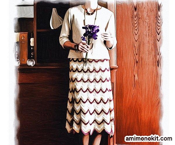 無料編み図Free Knitting Patternスーツ棒針編みアンサンブル入学式スカート1