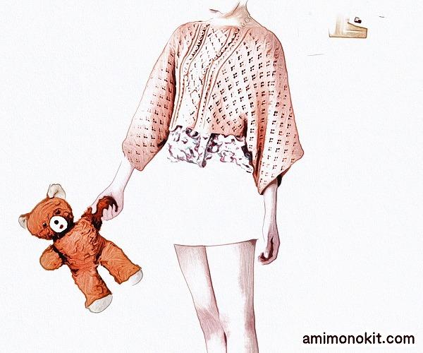 無料編み図Free Knitting Patternプル棒針編みポンチョゆったりショート丈ガーリー1