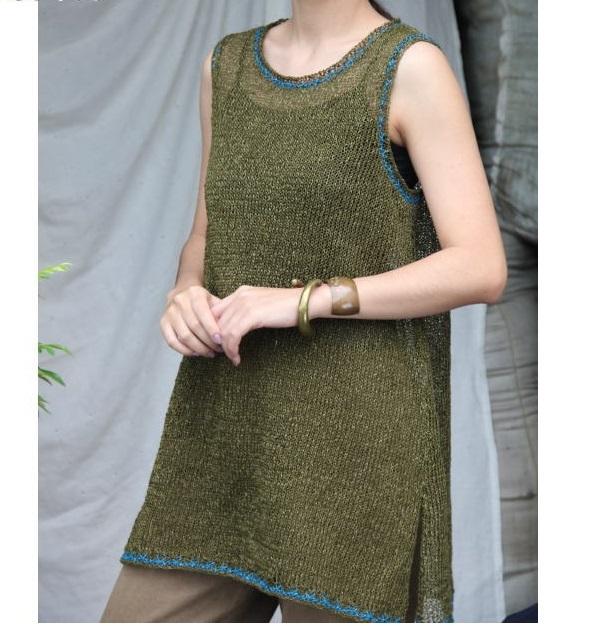 編み物キットニットセット棒針編み野呂英作麻衣2色使いのロングベスト