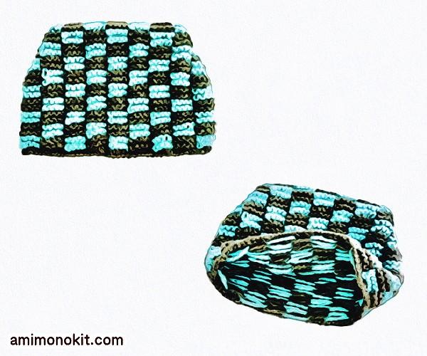 無料編み図Free Knitting Pattern帽子棒針編み編み込みニット帽ガーター猫耳メンズ2