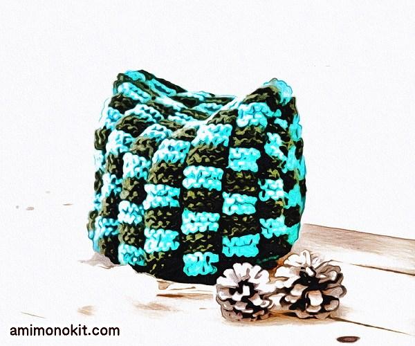 無料編み図Free Knitting Pattern帽子棒針編み編み込みニット帽ガーター猫耳メンズ3