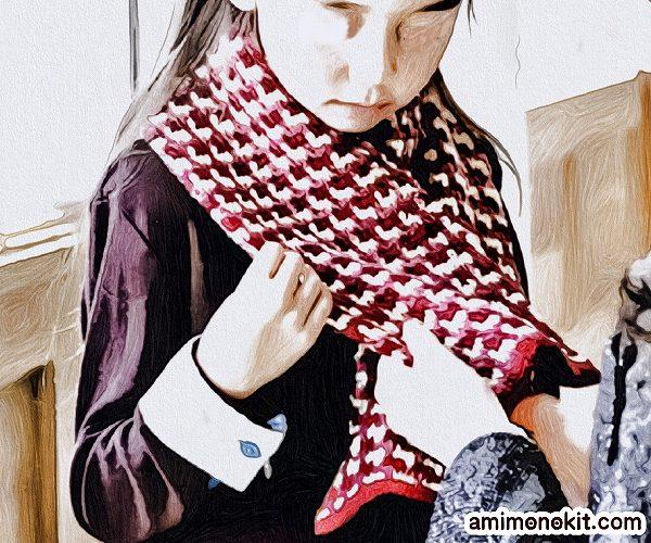 無料編み図Free Crochet Patternアフガン編みミニマフラーキッズ三色1