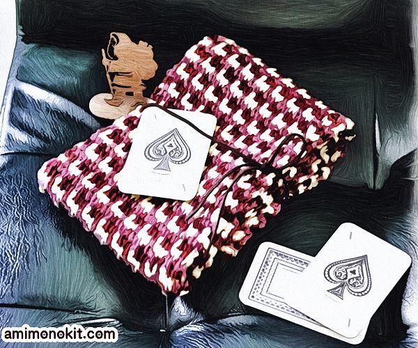 無料編み図Free Crochet Patternアフガン編みミニマフラーキッズ三色2