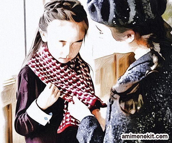 無料編み図Free Crochet Patternアフガン編みミニマフラーキッズ三色3