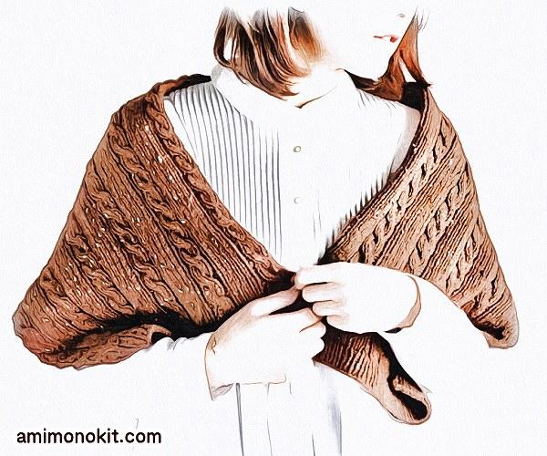 無料編み図Free Knitting Patternケープ棒針ケーブル模様ツイーコネップ1