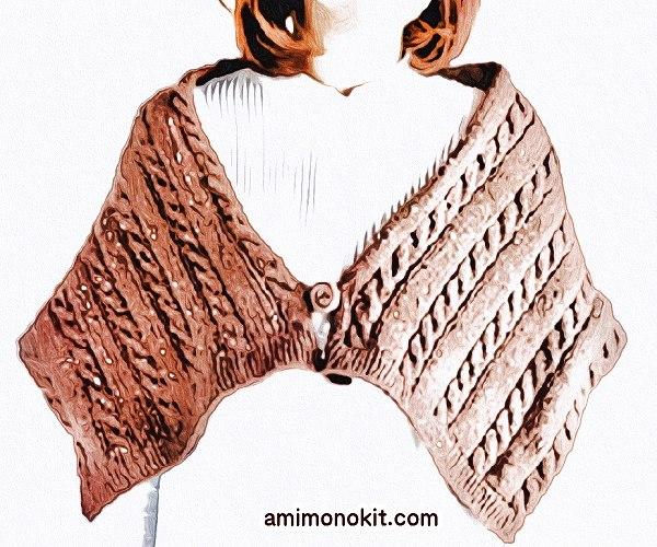 無料編み図Free Knitting Patternケープ棒針ケーブル模様ツイードネップ2