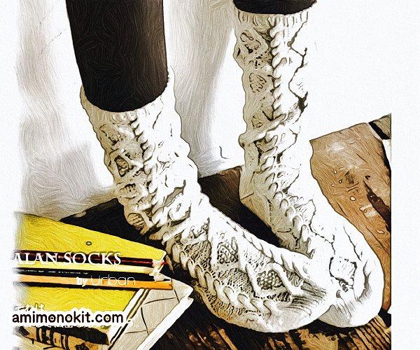 無料編み図Free Knitting Pattern靴下ソックス棒針編みアラン模様ケーブル柄1