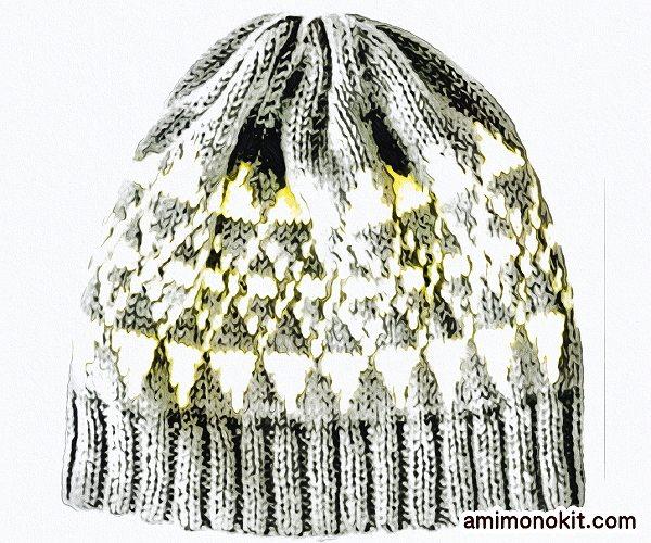 無料編み図Free Knitting Pattern帽子ニット帽棒針編み込みパターンニットキャップ2