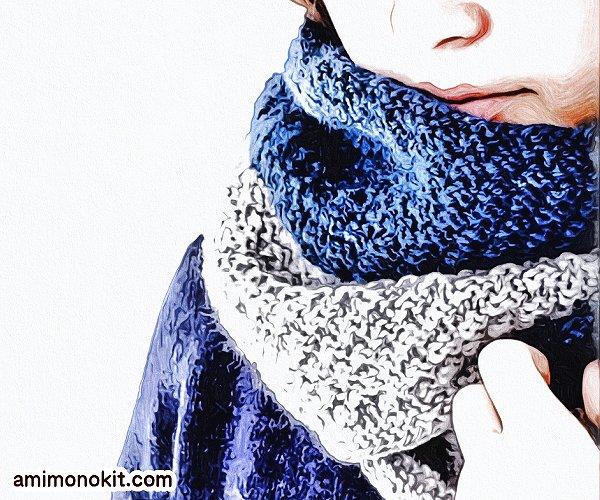 無料編み図Free Knitting Patternスヌード棒針編み鹿の子模様バイカラー1
