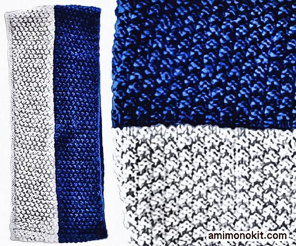 無料編み図Free Knitting Patternスヌード棒針編み鹿の子模様バイカラー3