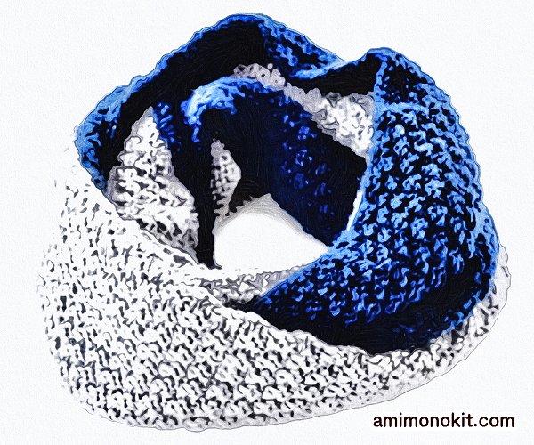 無料編み図Free Knitting Patternスヌード棒針編み鹿の子模様バイカラー4