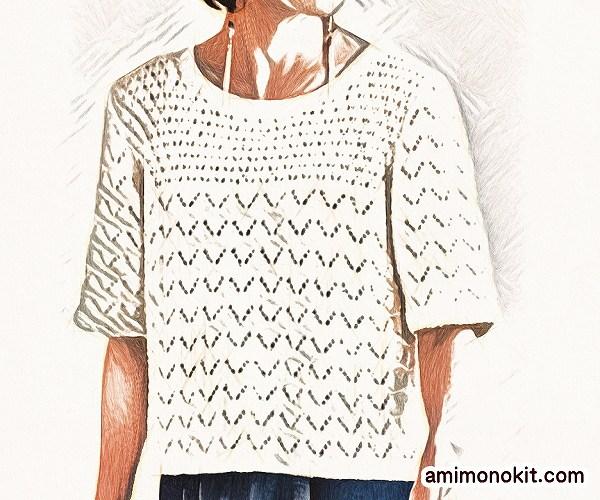 無料編み図Free Knitting Patternサマートップス棒針編み透かし模様五分袖2