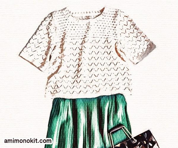 無料編み図Free Knitting Patternサマートップス棒針編み透かし模様五分袖4