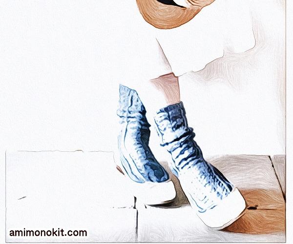 無料編み図Free Knitting Pattern靴下ソックス棒針編みケーブル模様透かし編み1