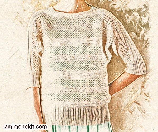 無料編み図Free Knitting Patternサマーセーター棒針編みドルマンスリーブ透かし模様1