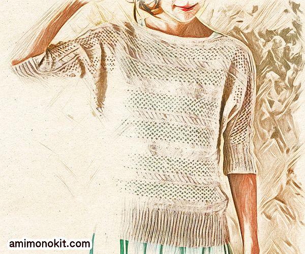 無料編み図Free Knitting Patternサマーセーター棒針編みドルマンスリーブ透かし模様2