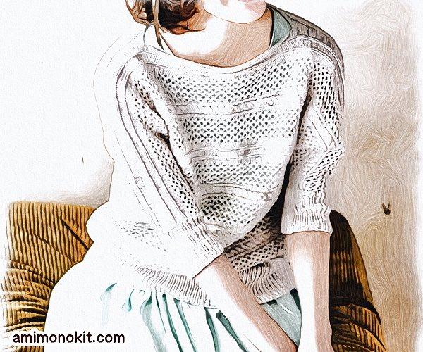 無料編み図Free Knitting Patternサマーセーター棒針編みドルマンスリーブ透かし模様3