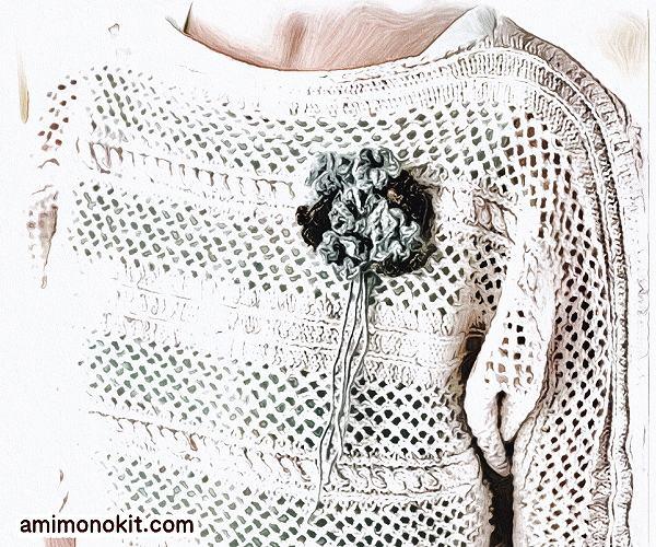 無料編み図Free Knitting Patternサマーセーター棒針編みドルマンスリーブ透かし模様4