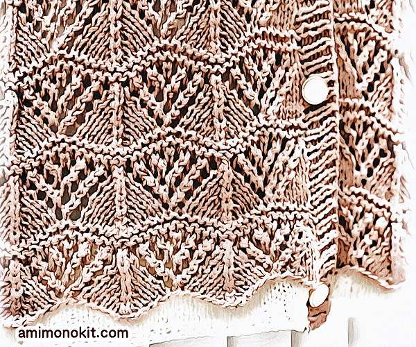 無料編み図Free Knitting Patternカーディガン棒針編み透かし模様五分袖スカラップ模様3