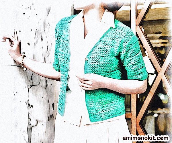 無料編み図Free Crochet Patternカーディガンかぎ針編みVネック合わせやすい半そで3