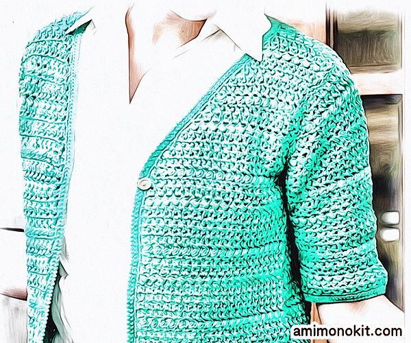 無料編み図Free Crochet Patternカーディガンかぎ針編みVネック合わせやすい半そで4