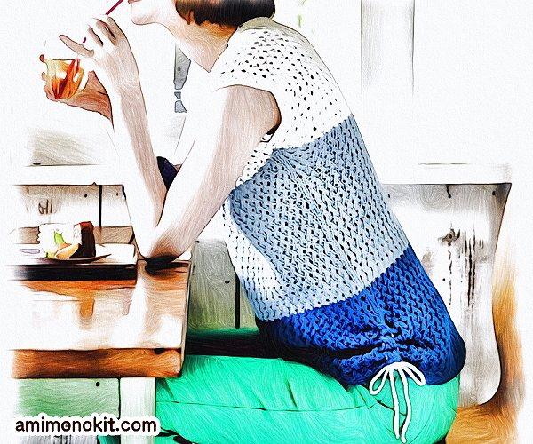 無料編み図Free Knitting Patternサマーセーター棒針編みまっすぐ編み初心者4