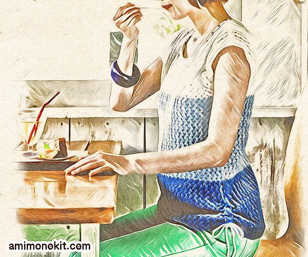無料編み図Free Knitting Patternサマーセーター棒針編みまっすぐ編み初心者1