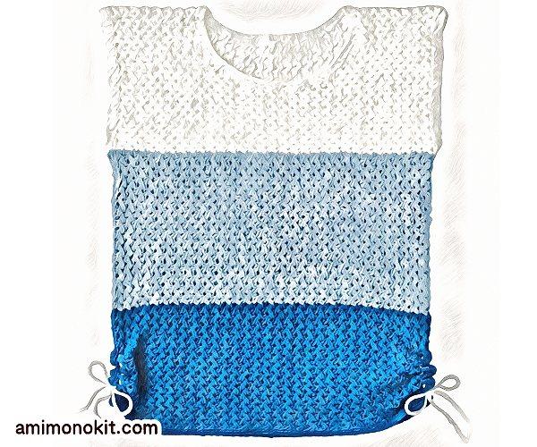 無料編み図Free Knitting Patternサマーセーター棒針編みまっすぐ編み初心者3