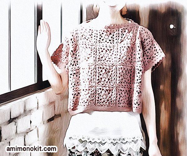 無料編み図Free Crochet Patternサマーセーターかぎ針編みモチーフつなぎガーリー4