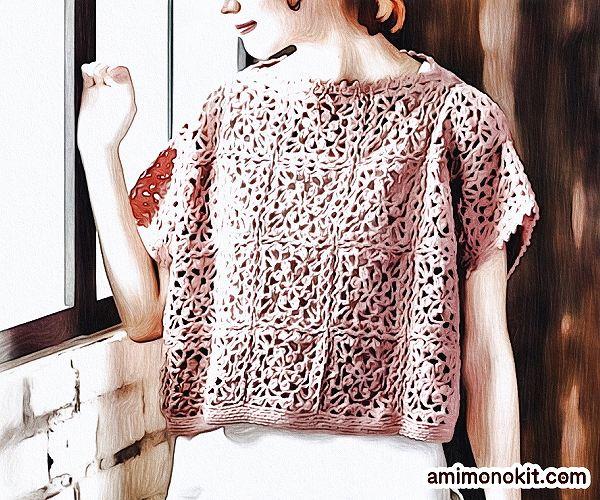 無料編み図Free Crochet Patternサマーセーターかぎ針編みモチーフつなぎガーリー1