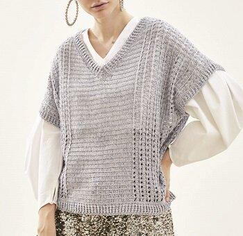 もらえる無料編み図リッチモア絹綾サイド模様ドルマンスリーブプル
