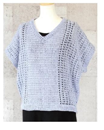 もらえる無料編み図リッチモア絹綾サイド模様ドルマンスリーブプ2