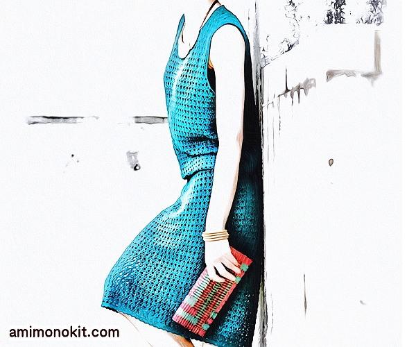 無料編み図Free Crochet Patternワンピースかぎ針編みブラウジングサマーワンピ1