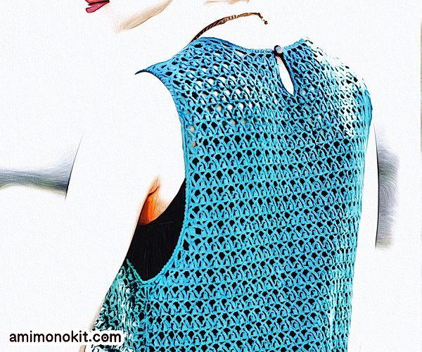 無料編み図Free Crochet Patternワンピースかぎ針編みブラウジングサマーワンピ2
