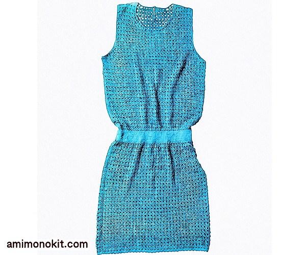 無料編み図Free Crochet Patternワンピースかぎ針編みブラウジングサマーワンピ3
