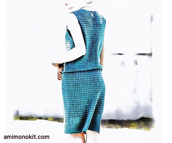 無料編み図Free Crochet Patternワンピースかぎ針編みブラウジングサマーワンピ4