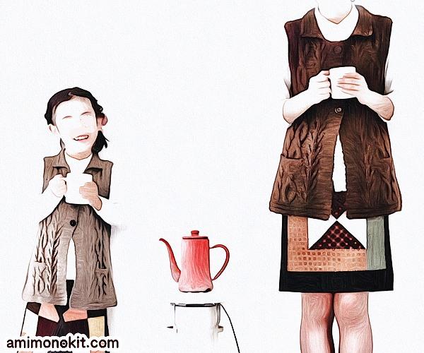 無料編み図Free Knitting Patternお揃いロングベスト棒針編みママとキッズでクリスマス1