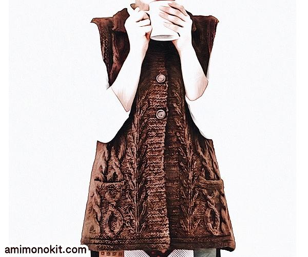 無料編み図Free Knitting Patternお揃いロングベスト棒針編みママとキッズでクリスマス3