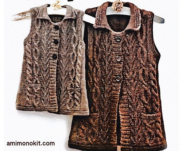 無料編み図Free Knitting Patternお揃いロングベスト棒針編みママとキッズでクリスマス5