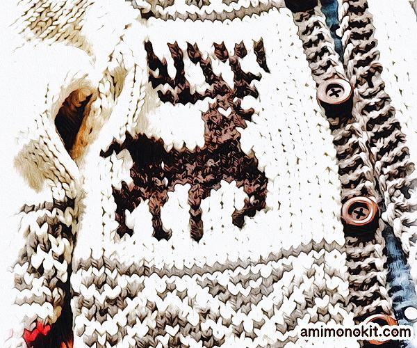 無料編み図Free Knitting Patternカウチンジャケット棒針編み北欧ノルディック3
