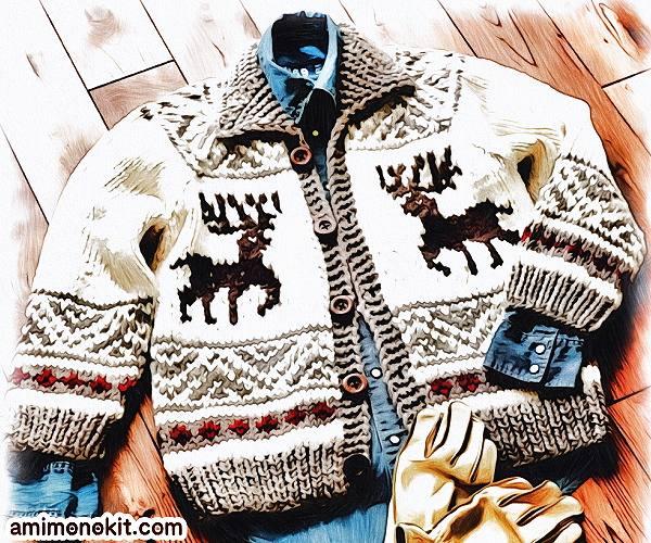無料編み図Free Knitting Patternカウチンジャケット棒針編み北欧ノルディック1