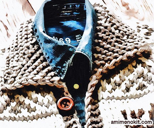 無料編み図Free Knitting Patternカウチンジャケット棒針編み北欧ノルディック2