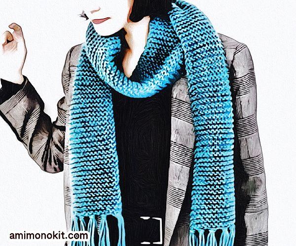 無料編み図Free Knitting Patternマフラー棒針編みまっすぐ編み初心者簡単1