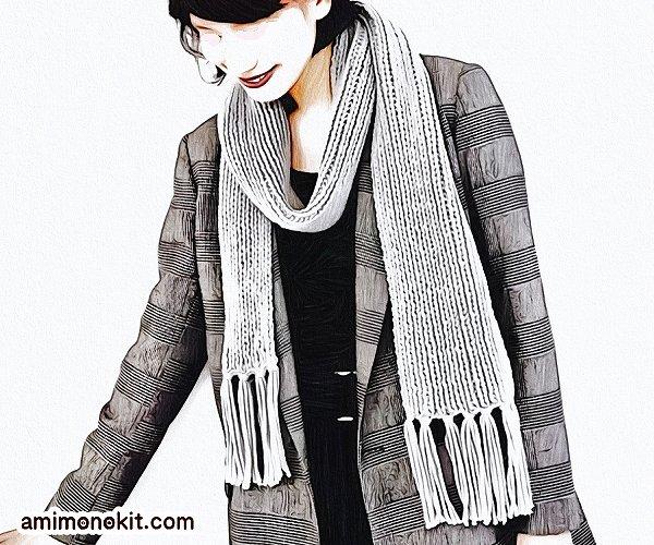 無料編み図Free Knitting Patternマフラー棒針編みまっすぐ編み初心者簡単2