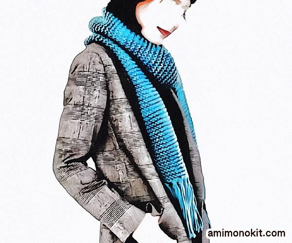 無料編み図Free Knitting Patternマフラー棒針編みまっすぐ編み初心者簡単3