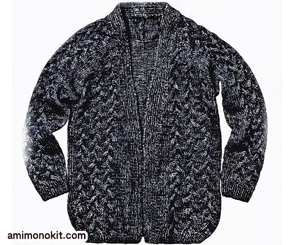 無料編み図Free Knitting Patternカーディガン棒針編みゆったりルーズ3
