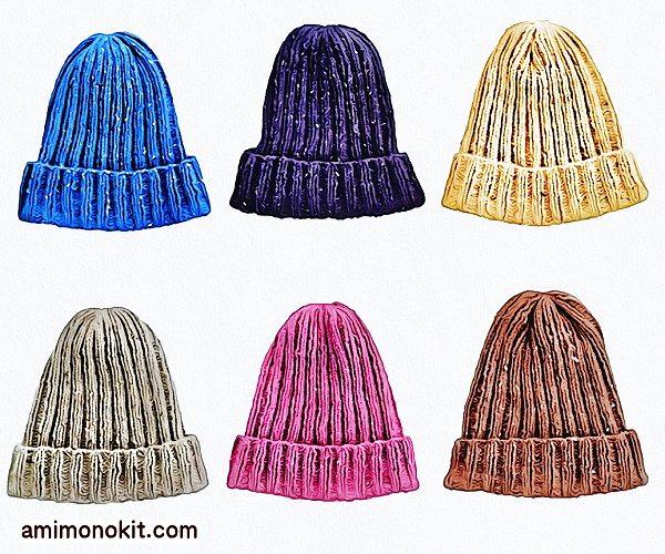 無料編み図Free Knitting Patternニット帽棒針編み初心者二目ゴム編み簡単3