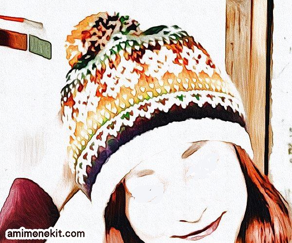 無料編み図Free Knitting Patternニット帽棒針編み自然に編み込み模様簡単1