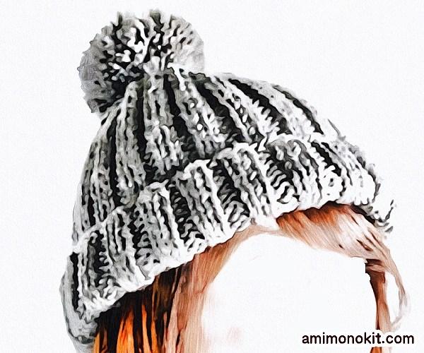 無料編み図Free Knitting Patternニット帽棒針編みシンプル簡単初心者2
